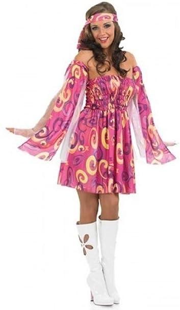 check out 717c2 0377e da Donna Rosa Hippie Hippy Anni '60 Anni 70 Costume Vestito ...