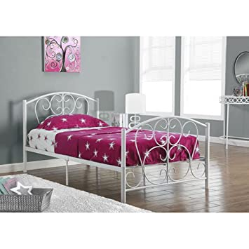 monarch specialties white metal twin size bed frame only 37 inch