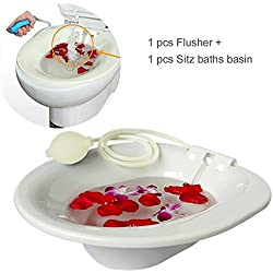 Samtour Sitz Bath Hip Bath Tub Flusher Bath Basin Fumigation Medical Grade Seatz Bath for Pregnant Women Hemorrhoids Patients on the Toilet hip bath tub & flusher