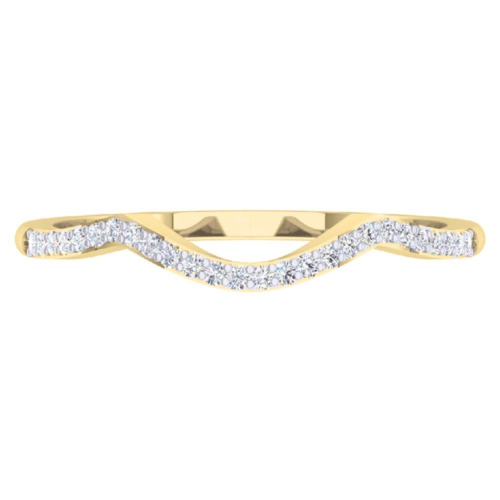 DazzlingRock Collection 0.12 Carat (ctw) 14K Yellow Gold Round Cut Diamond Ladies Wedding Band Contour Guard Ring (Size 5.5)