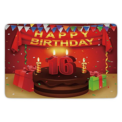 Bathroom Bath Rug Kitchen Floor Mat Carpet,16th Birthday Decorations,Party Celebration with Flag Ribbon Chocolate Cake Candles Print,Multicolor,Flannel Microfiber Non-slip Soft Absorbent ()