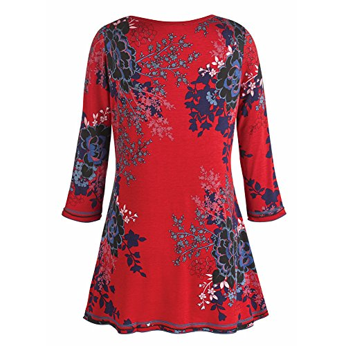Women's Tunic Top - Red Asian Print Three Quarter Sleeve V-Neck Blouse - 1X