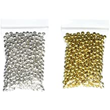 Beading Station 1000-Piece Mix Tiny Metal Spacer Round Beads for Jewelry Making, 3.2mm, Silver/Gold