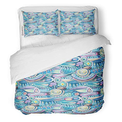 Tarolo Bedding Duvet Cover Set Abstract Canvas Bouquet of Flowers Sea Blooming Peas Turquoise Color Composition Aztec Maya Incas Pattern Upper 3 Piece Twin 68