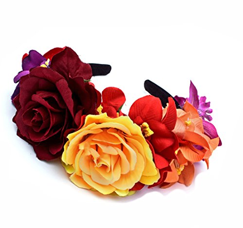 DreamLily Day of The Dead Headband Costume Rose Flower Crown Mexican Headpiece BC40 (Mix-Color) ()