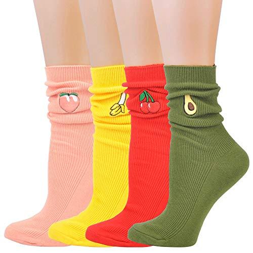 (Jormatt 4 Pairs Women Fruits Crew Socks With Banana Cherry Lemon Avocado Pattern Design Ankle Socks Warm,Women Shoe Size)
