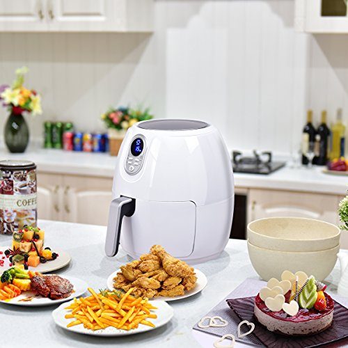 Costzon 4.8 Qt. Electric Air Fryer, Extra Large Capacity, 1500W Air Frying Technology with Touch LCD Screen, Temperature and Time Control (White) by Costzon (Image #6)