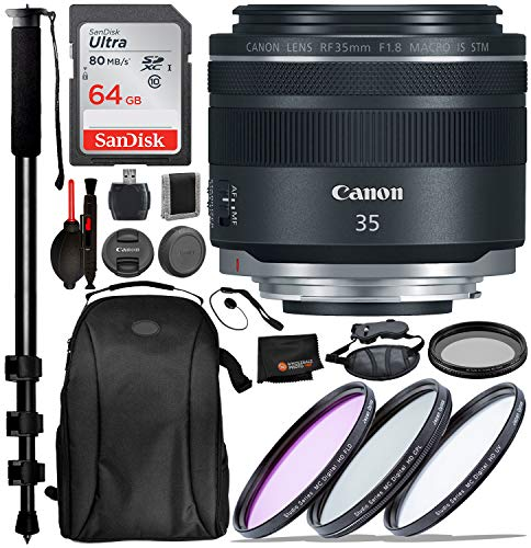 (Canon RF 35mm f/1.8 is Macro STM Lens with Professional Bundle Package Deal Kit Includes San Disk 64gb SD Card + 3pc Filter Kit (UV, CPL, FLD) + 52mm - Variable ND Filter + 72