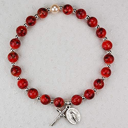 Hail Mary Gifts RED Venetian Stretch Bracelet, 7MM Faux Venetian Glass Beads Silver OX Crucifix and Miraculous Medal CARDED