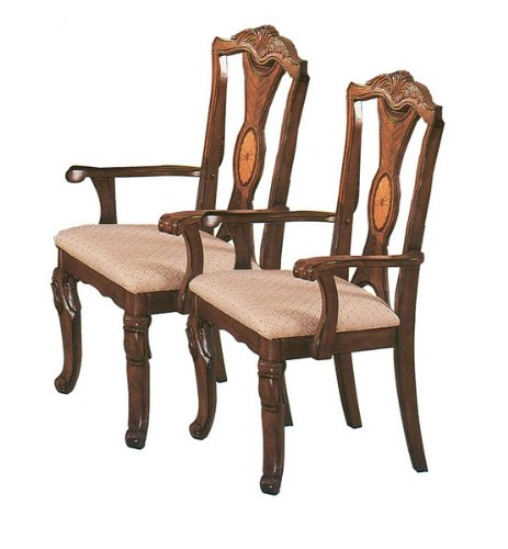(Set of 2 Jamestown Collection Brown Finish Dining Arm Chairs)