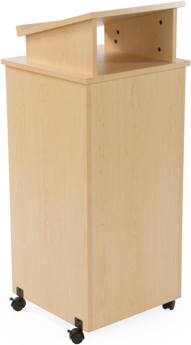 Displays2go Rolling Wood Podium, 44 Inch H, Locking Wheels, 2 Shelf Open Cabinet, Top Surface with Lip, Maple LCTTBLRLSM