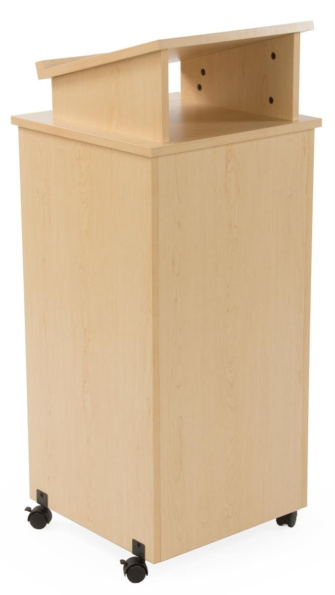 Displays2go Rolling Wood Podium, 44 Inch H, Locking Wheels, 2 Shelf Open Cabinet, Top Surface with Lip, Maple (LCTTBLRLSM)