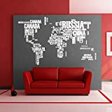 Fabulous Large World Map PVC Wall Decal Stickers Original Creative Letters Map Wall Art - Vinyl Wall Stickers For Office, Home Decorations for Living Room (1, White)