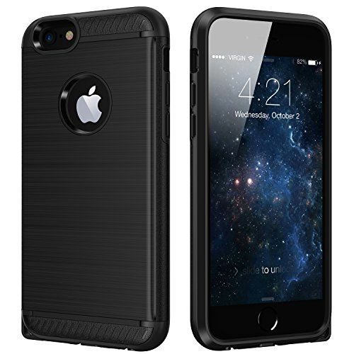 iPhone 6 Case,CHTech Shock Absorption Dual Guard Protection Brushed Metal Texture Series Protective Case cover for Apple iPhone 6/6S (4.7 inch)-Black