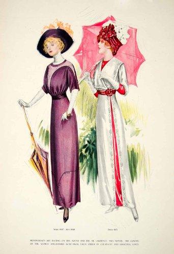 1911 Print Art Ladies Costume Gown Umbrella Bow Hat Floral Umbrella Lace Girdle - Original Halftone Print