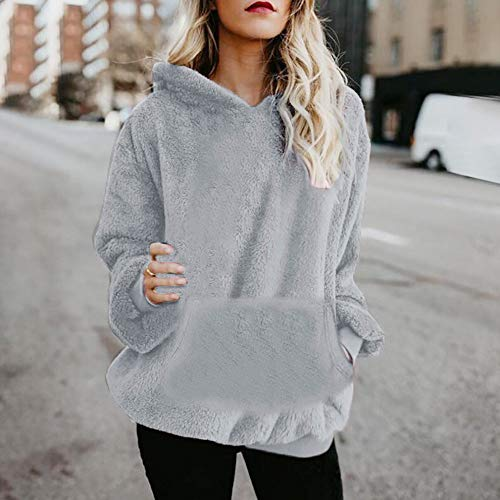 Sweatshirt Chandail GongzhuMM Capuche EU Sweats Pullover 3 Hoodie Polaire 46 Gris 34 Taille Femme Courte Sweater Pull Grande Sweats Capuche Femme qxnn6I