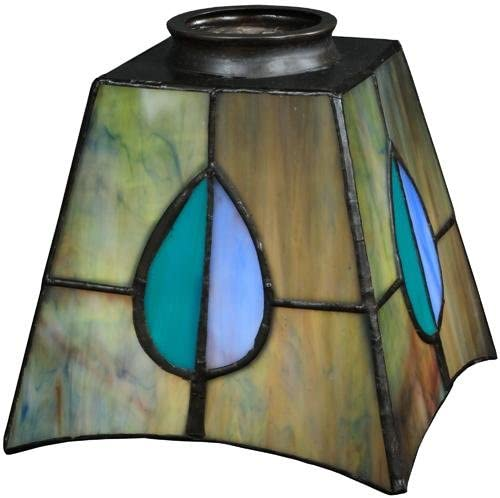 Meyda Tiffany Pate De Verre Bell Shade in Pink and Teal Fiinish