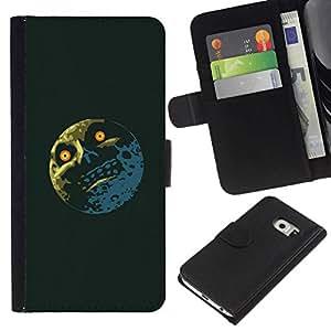 // PHONE CASE GIFT // Moda Estuche Funda de Cuero Billetera Tarjeta de crédito dinero bolsa Cubierta de proteccion Caso Samsung Galaxy S6 EDGE / Troll Lol Meme Moon - Funny /