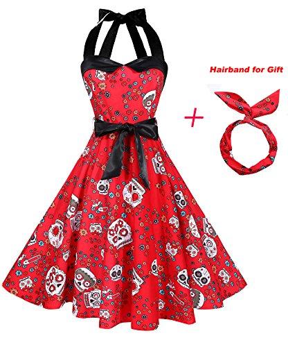 BI.TENCON Women's Vintage 1950s Halter Neck Red with Skull Printed Halloween Retro Party Cocktail Swing Dress Plus 2XL -