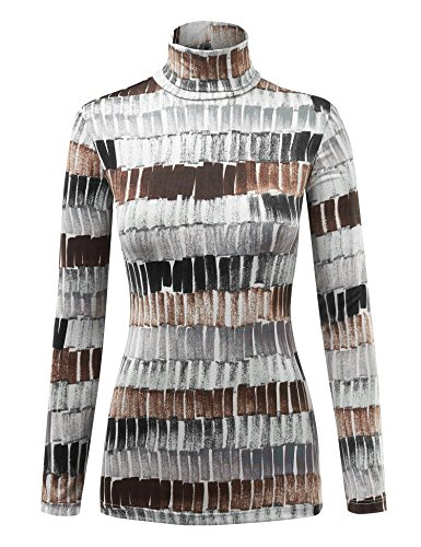 (WSK1325 Womens Print Long Sleeeve Turtleneck Sweater Knit Top XXL Black_Brown)