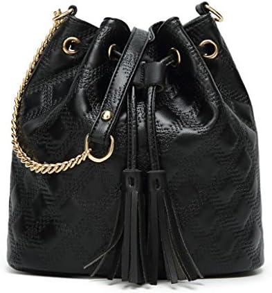 女性のフリンジバケットバッグシンプルなファッショナブルな女性のメッセンジャーショルダーバッグ無料の送付財布 (Color : Black)