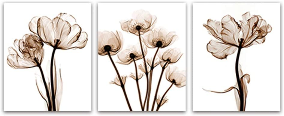 3 Set- Elegant Modern Transparent Flower Canvas painting Art print Poster Picture Home Wall Decoration Simple Wall Decor 8x10inch