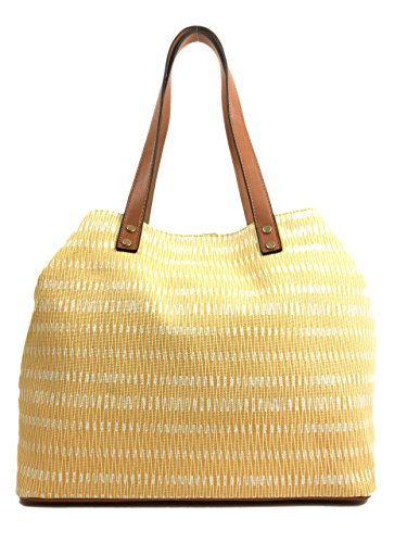 SURF in Handles Canvas Expanding Waves Tote Straw in Summer Bag Beach with Bag Waves Summer with and Yellow Glitter Canvas Lovely Colours Large Shopper Bag Comfortable Print Soft Designer Zips ggp7xw5