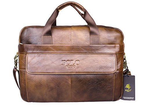 VIDENG POLO® Hotest Men's Top Genuine Leather Handmade Briefcase Shoulder Messenger Business Bag From Italy Design (CP-Wild Brown)