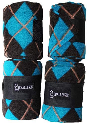 CHALLENGER Horse Grooming Set of 4 Fleece Polo Leg Wraps Turquoise 95R18