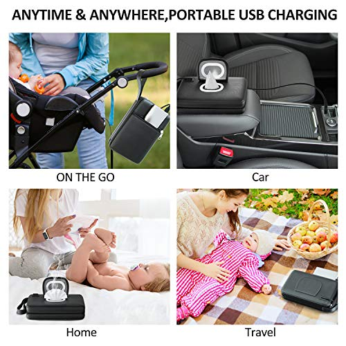 51AObCppn1L - Portable-Baby-Wipe-Warmer Version 2.0,Leather Handbag Design,USB Cable Link To Portable Charger To Heat Wipes,Perfect For Travel Or On The Go,Diaper Change Snugly For Infant