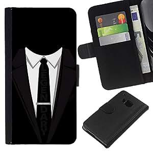 HTC One M7 , la tarjeta de Crédito Slots PU Funda de cuero Monedero caso cubierta de piel ( Suit Tie Black Legendary Businessman Slogan)