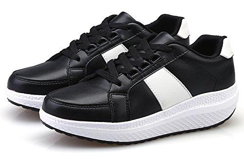 Ausom Kvinners Stilig Lær Plattform Kiler Toning Sko Walking Fitness Trene Sneaker Svart