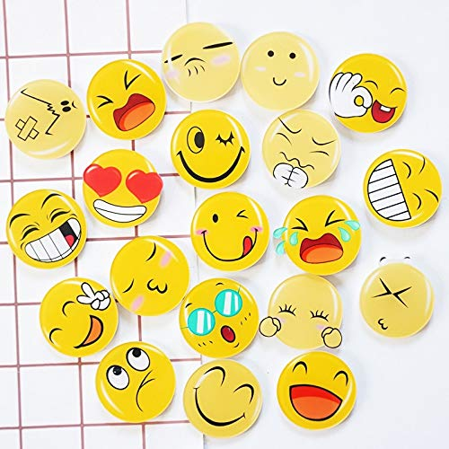 Fridge Magnets - 8pcs Cute Emoji Fridge Magnet Glass Dome Round Face Expressions Refrigerator Sticker Cabochon Notes - Toys States Krabi Keys Skull Planets Poetry Holder Milk Dinosaur ()