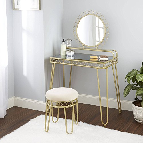 Better Homes and Gardens Mirabella Vanity & Stool, Gold from Better Homes & Gardens