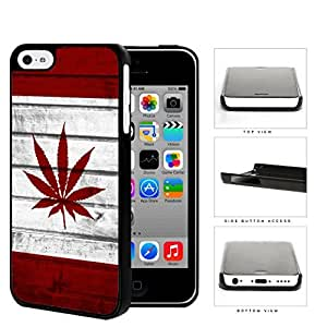 Canada Weed Flag White and Red Wood Pattern Background Hard Snap on Phone Case Cover iPhone 5c