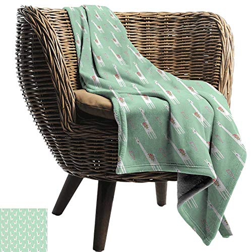 Sillgt Nap Blanket Llama Cute Llama with Candy Cane Hearts Fun Pattern on Mint Green Background Throw Blanket Adult Blanket 70
