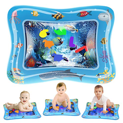 Novelty Place Baby Water Play Mat Tummy Time - Inflatable Splashing Playmat for Infant & Toddlers (BPA-Free), Early Development Activity Centers and Baby's Growth Training Simulation (Place Play Mat)