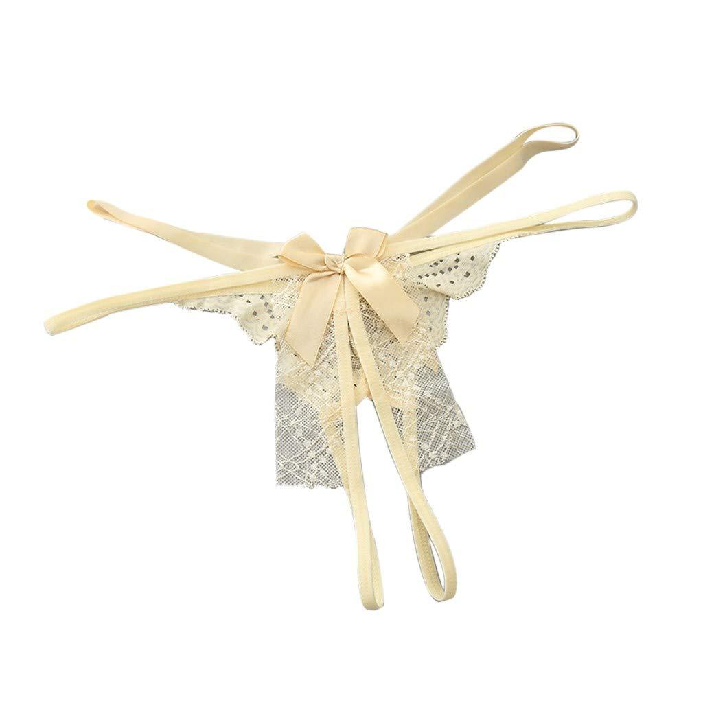 ღ Women's Sexy Lingerie Lace Open Thong Panties G-Pants Lingerie Pajamas Beige