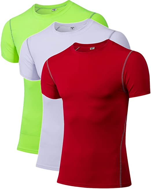 Mens Compression Top Running Training Gym Short Sleeve T-Shirts Moisture Wicking
