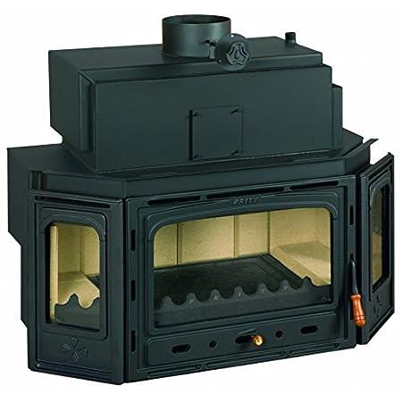 Combustión de madera chimenea Insertar Prity, Modelo TC W35, salida de calor 40 kW, caldera, hierro fundido puerta, panorámica + regalo ceniza limpiador ...