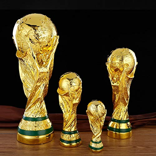 ZAMTAC World Cup Trophy Resin Handicrafts Football Awards Gifts Cool Surprises Home Decoration Creative Football Fans Golden - (Color: 27cm- Solid)