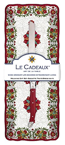 (Le Cadeaux Allegra Melamine Baguette Tray and Laguiole Bread Knife Gift Set, Red )