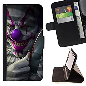 For Samsung Galaxy A3 Clown Evil Smile Devil Red Eyes Creepy Style PU Leather Case Wallet Flip Stand Flap Closure Cover