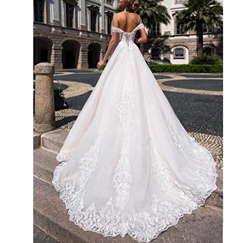 Dimei Line 2018 White Lace A Off Bridal Gowns Women's Wedding Shoulder Elegant Wedding Dresses g1qgpr