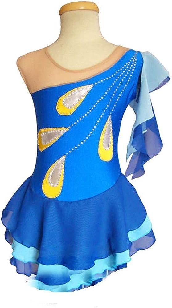 フィギュアスケートドレス女性女の子アイススケートダンスパフォーマンスコンペティションハイエンドコスチューム伸縮性ラインストーンスケートウェアノースリーブブルー ブルー Child14