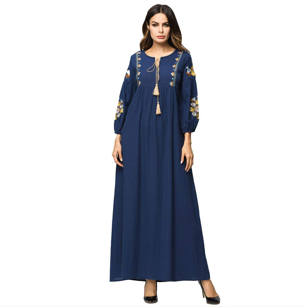 Other-sey Muslim Dress Women's Long Sleeve Ethnic Casual Conservative National Robe Abaya Islamic Middle Eastern Long Dress Navy