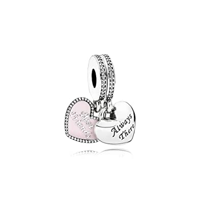 30c22b969 Image Unavailable. Image not available for. Color: Pandora Best friend  Forever Pink Heart dangle charm 791950cz