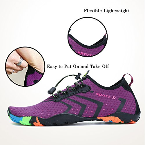 Unisex Water Shoes Aqua Womens Mens for Barefoot Swimming Pool Beach Walk Purple TP7QTPhH