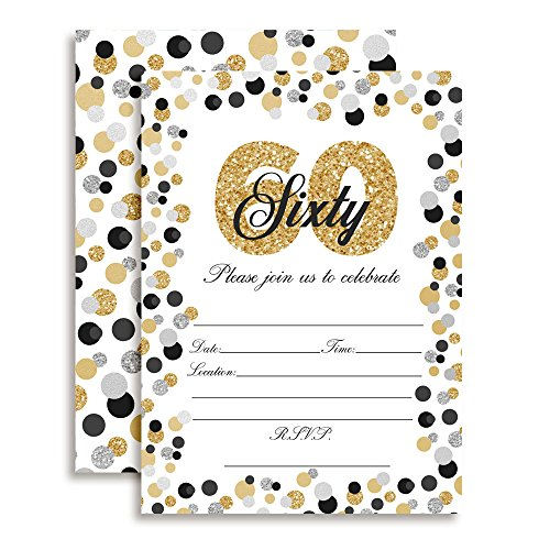 Confetti Polka Dot 60th Birthday Party Invitations, 20 5