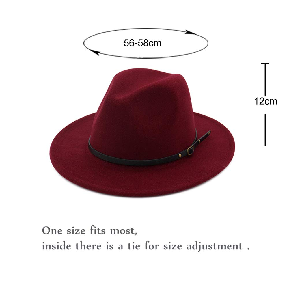 Vim Tree Womens Classic Wide Brim Fedora Hat with Belt Buckle Felt Panama Hat